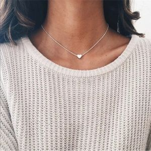 Silver Dainty Heart Necklace Minimalist Adjustable